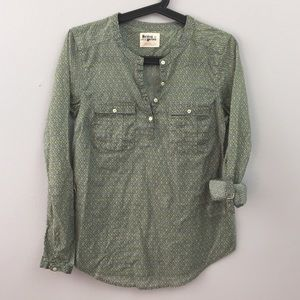 Holding Horses Ikat Half Button Blouse in Green